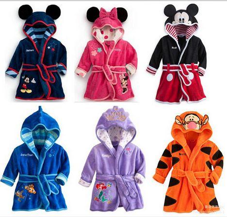 Hot Selling 2015 Spring Autumn Children's Pajamas Robe kids Casual Cute Bathrobes Baby homewear Boys girls Cartoon 3 D Romper(China (Mainland))