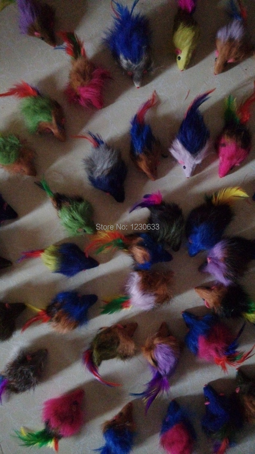 Long-haired variety of colors rabbit tail feathers cat toy mouse bite amused(China (Mainland))