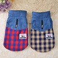 Fashion Contrast Color Dog Jacket Coat Winter Double Layer Pet Clothes Jeans Plaid Puppy Dog Apparel