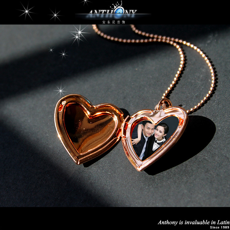 Специальное открытое в форме сердца карманные часы подвески для фото мода ожерелья для подарков 18 К позолоченные ювелирные изделия для женщин A1001