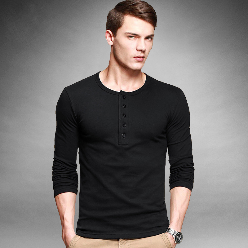 Wholesales or retail mens slim fitted casual t shirt for H m mens henley t shirt long sleeve
