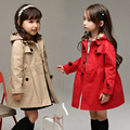 2016 Spring Girls Clothing Long Sleeve Trench British Style Long Design Baby Outerwear