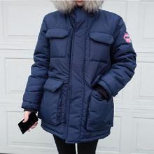Discount winter raccoon fur collar hooded tooling coat coat loose cotton quilted jacket dress personality