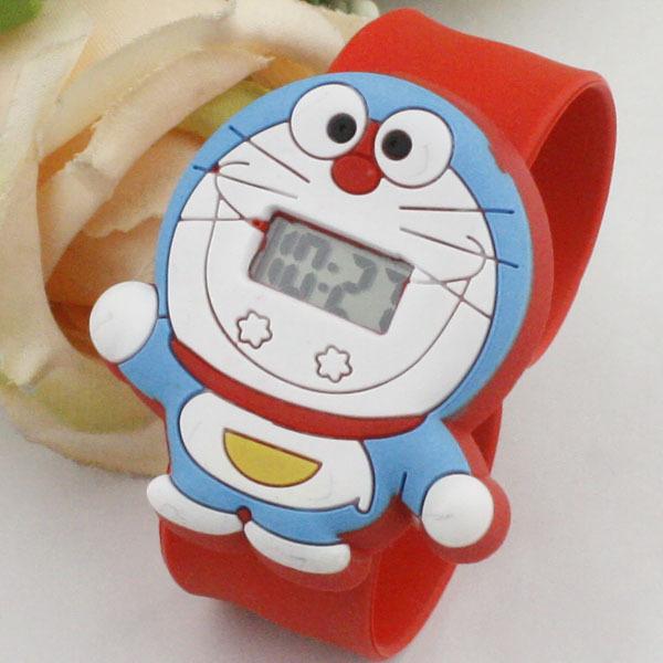 Kawaii Doraemon cartoon cat child watches wholesale electron wristwatch for kids best cute hand clock best gift for boys girls(China (Mainland))