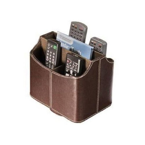 Faux Leather Spinning Remote Control/Controller TV Guide/Mail/CD Organizer/Caddy/Holder Media Storage Box-Brown(China (Mainland))