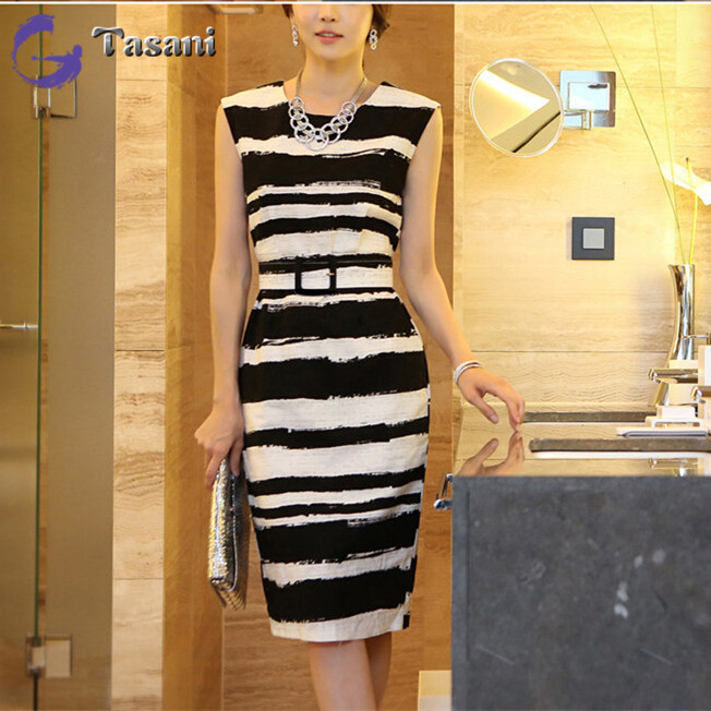 2014 Fashion Casual Women Dress Korean OL Striped Summer Tank Dresses Female V1054 - TASANI store
