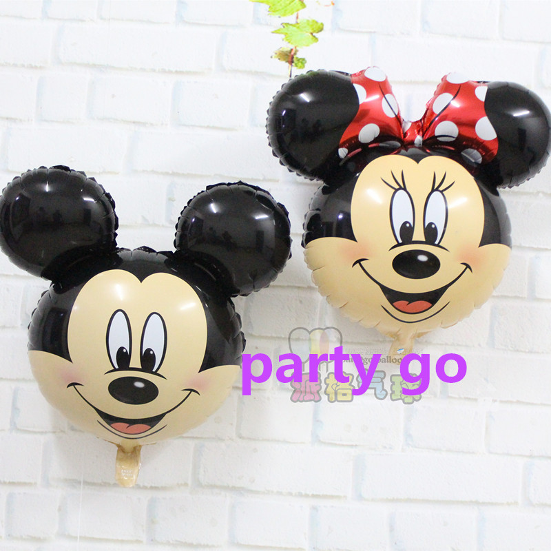 50pcs/lot new aluminum balloons birthday party baby Hundred Days Mickey Minnie Mickey Mouse head foil balloons<br><br>Aliexpress