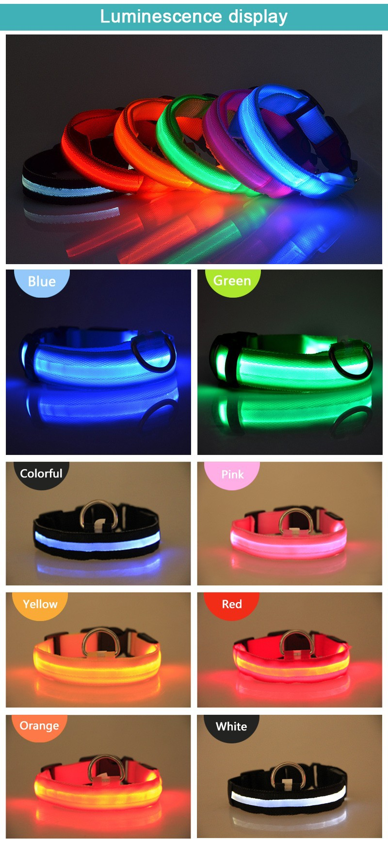 Free Shipping LED lighted dog collars factory wholesale