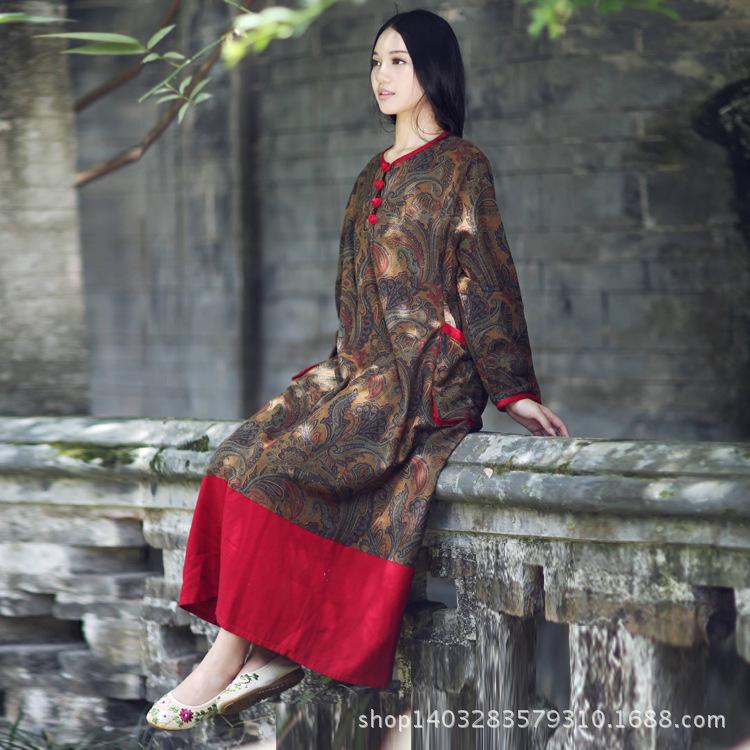 Twods 2015 new spring women linen dress original design floral print patchwork long sleeve loose dress high-end quality dress