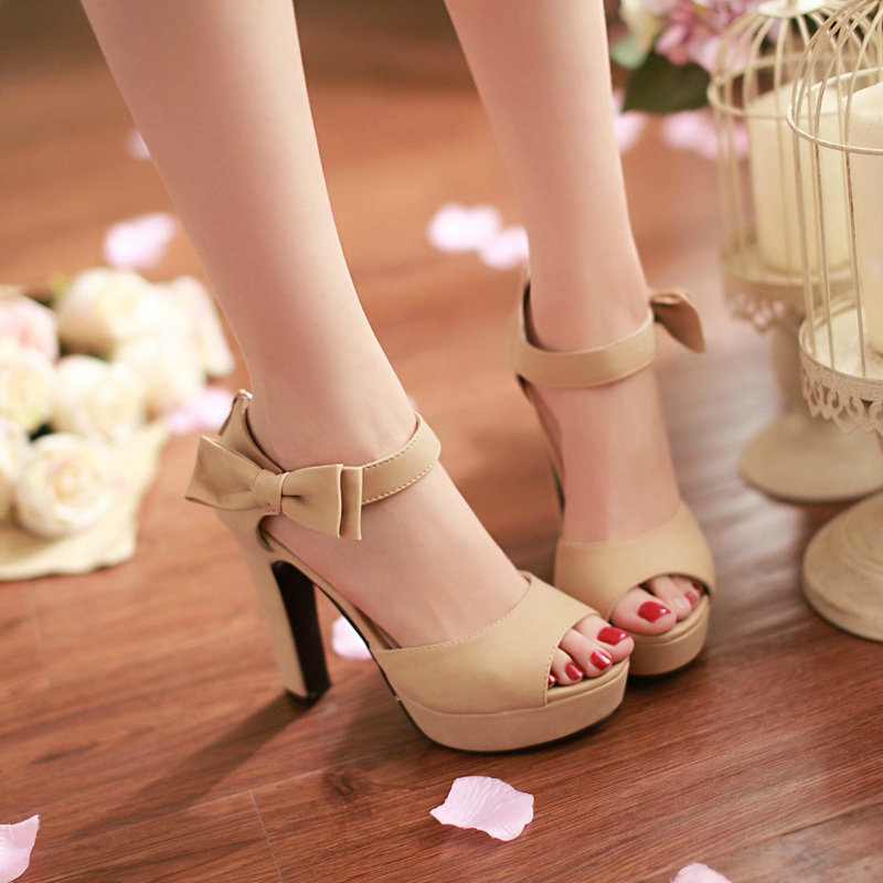 Thick Heel Platform Sandals Ladies Fashion Bow High-heeled Dress Shoes 2016 Summer New PU Leather Woman Shoes<br><br>Aliexpress