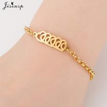 Jisensp Gold bransoletki ze stali nierdzewnej dla kobiet biżuteria codzienna bransoletka z talizmanem w kształcie motyla Femme prezent ślubny(China)