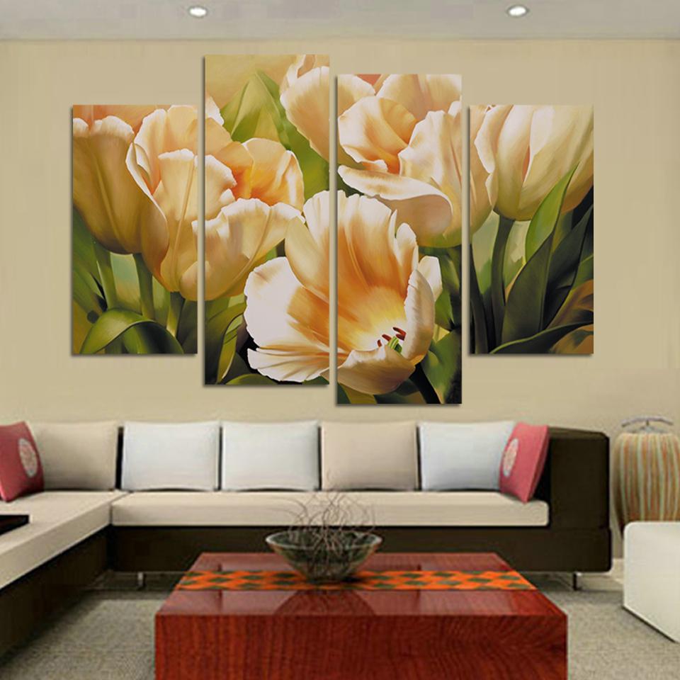 Compra flor pintura al leo tulipanes online al por mayor - Como pintar un cuadro moderno ...