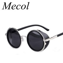 Buy Steampunk Sunglasses Women Round Glasses Goggles Men Side Visor Circle Lens Unisex Vintage Retro Style Punk Oculos De Sol M027 for $6.92 in AliExpress store