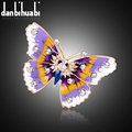 New Fashion enamel brooch pins crystal jewelry Purple Dream Butterfly animal brooches for women christmas