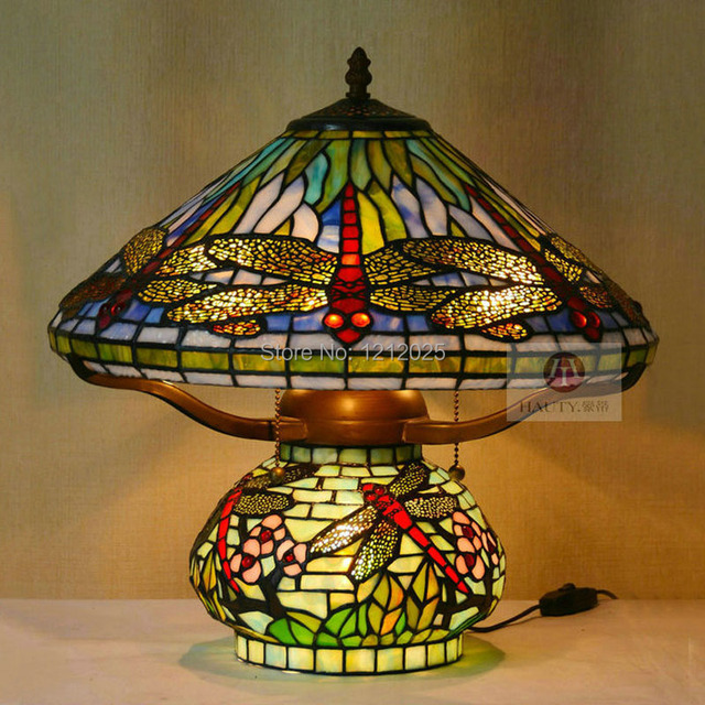 Antique Tiffany Style Dragonfly Table Lamp Double Lit