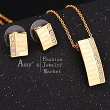 2015 New 18K Gold plated Austria crystal Laser flowers pendant  earrings crystal jewelry set  Shiny gold jewellery best gift(China (Mainland))