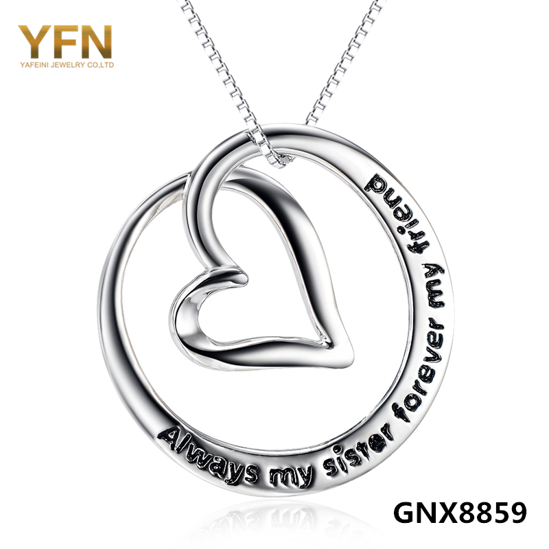 Fashion Jewelry 925 Sterling Silver Heart Pendant Necklace Represent Friendship Wholesale Jewelry For Good Friends GNX8859<br><br>Aliexpress