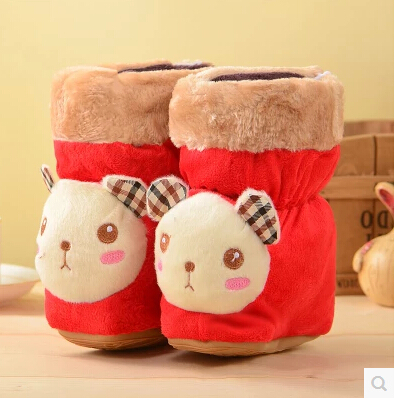 With thick warm winter baby  boots fur knitting wool toddler girl children shoes baby shoes in Baby First walk baby shoes