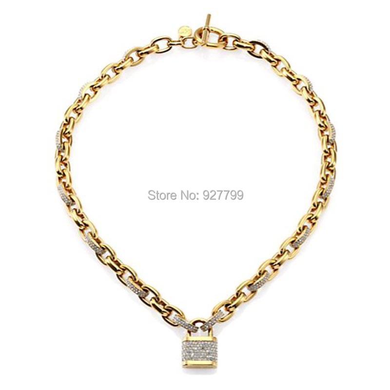 good quality brand fashion gold rhinestones lock necklace FREE SHIPING - YY Dot Boutique Fashion Shop store