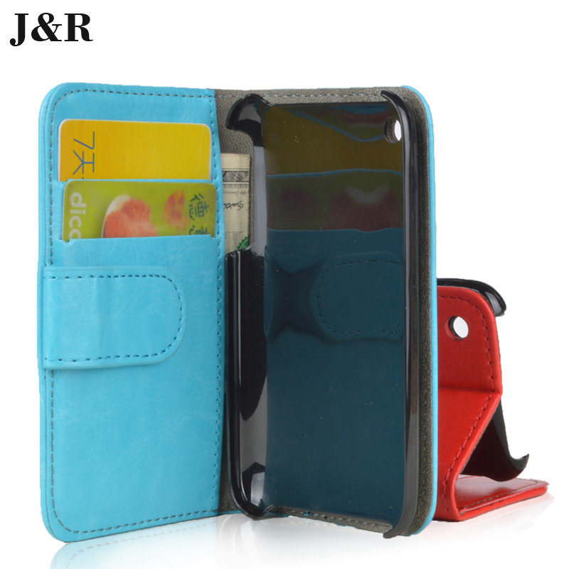 For iPhone 3 Luxury Wallet PU Leather Stand Flip Case For Apple iPhone 3 3G 3GS cover Book Style with card holder JR brand(China (Mainland))