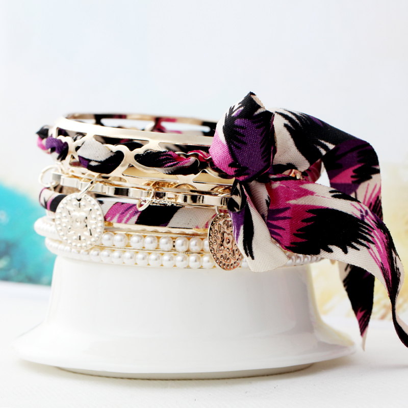 2015 new jewelry european punk wide coin noble bow cloth multi-layer pearl bangle pendant ribbon multicolor women pulseiras(China (Mainland))