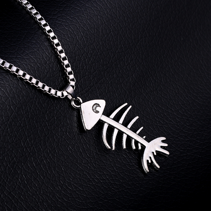 Fish Bone Pendant & Stainless Steel Necklace Summer Rock Music Festival Long Necklaces Women&Men Punk Box Chain Jewelry SN29