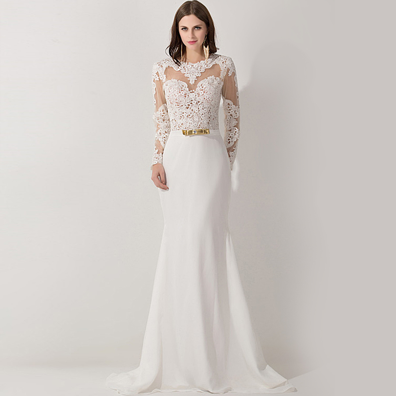 Buy new arrival mermaid high collar white for Modern long sleeve wedding dresses