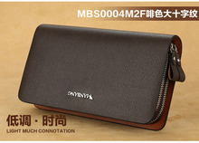 2015 NEW Business Mens Genuine Leather Clutch Double Zipper Large Capacity With Card Cash Money Cion