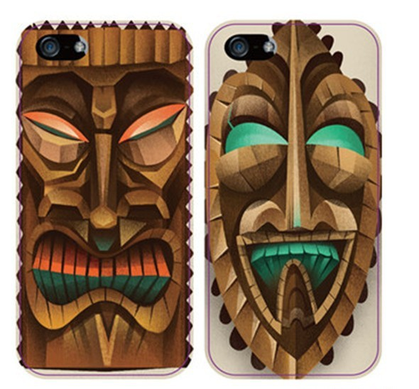 Exclusive Wooden Face Art Sculpture Plastic Case for iPhone 4 4S 5 5S(China (Mainland))