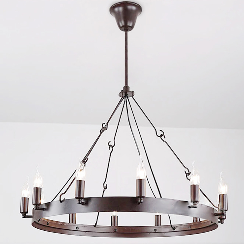 Hanging Light Round: Industrial Vintage Round Pendant Lamp Hanging Light