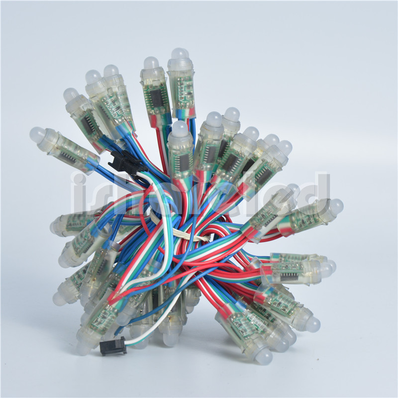 50Pcs Diameter 12mm Full Color RGB Pixel Addressable WS2801 LED Module String Node 12V IP68(China (Mainland))