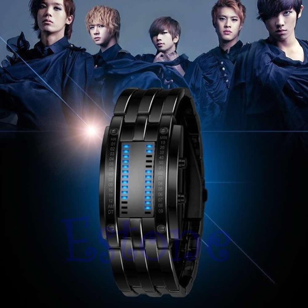 U95 inchNew Luxury Men Women Black Stainless Steel Date Digital LED Bracelet Sport Watch - come here! store