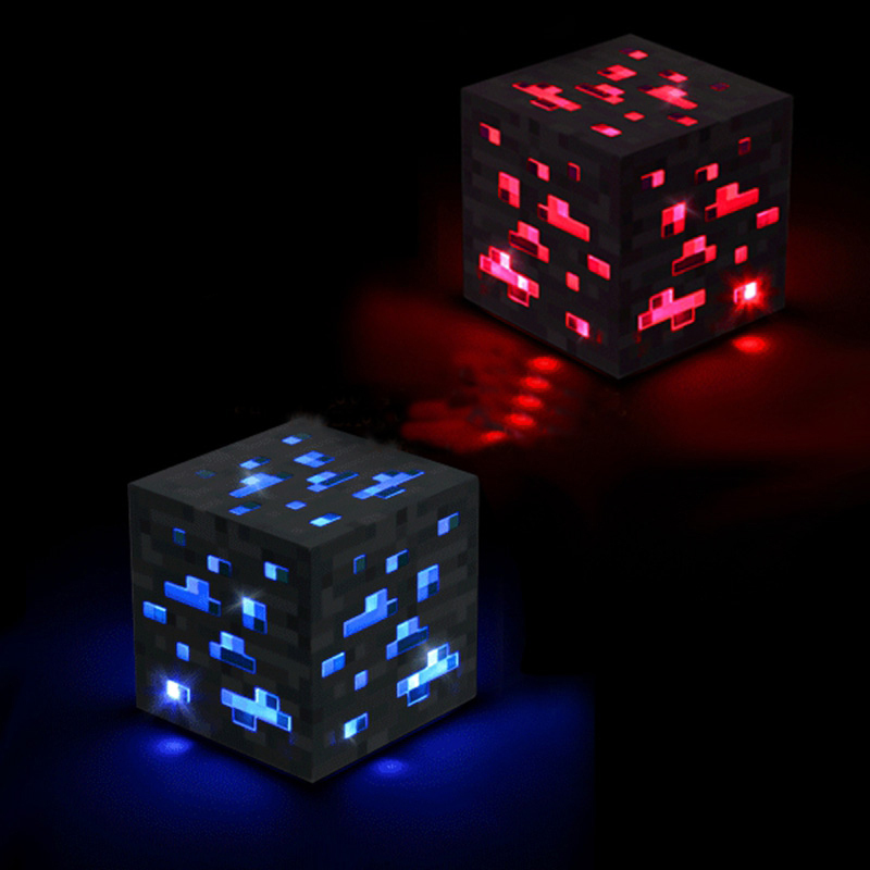 Minecraft Light Up Redstone Ore Blue stone diamond Square Night light touch LED Lamp minecraft toys for kids gift(China (Mainland))