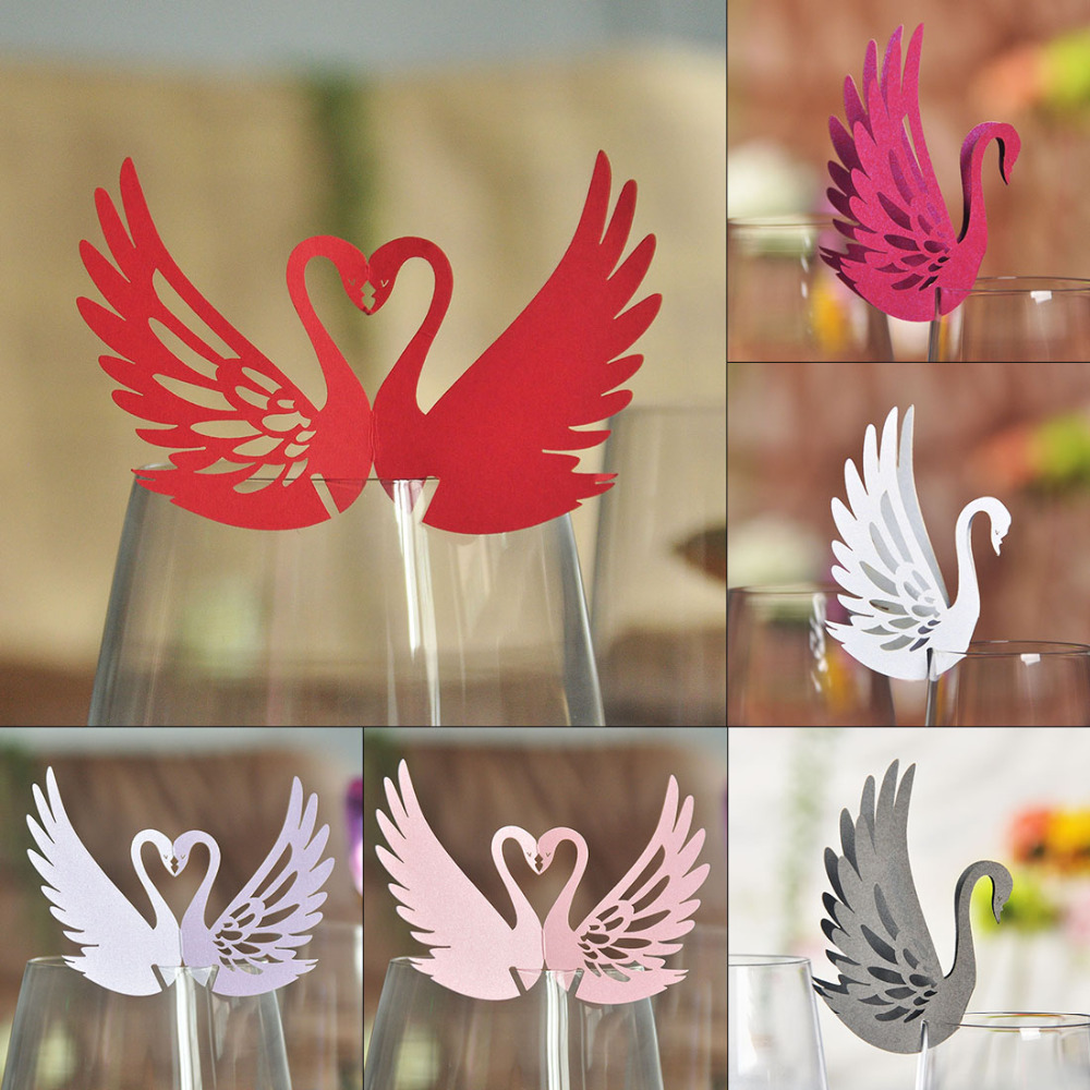 50pcs Swan Laser Cutting Cup Card Wine Glass Card Party Decoration Doda Wedding Gifts TableMark Wine Wedding Decoration 5 Colors(China (Mainland))