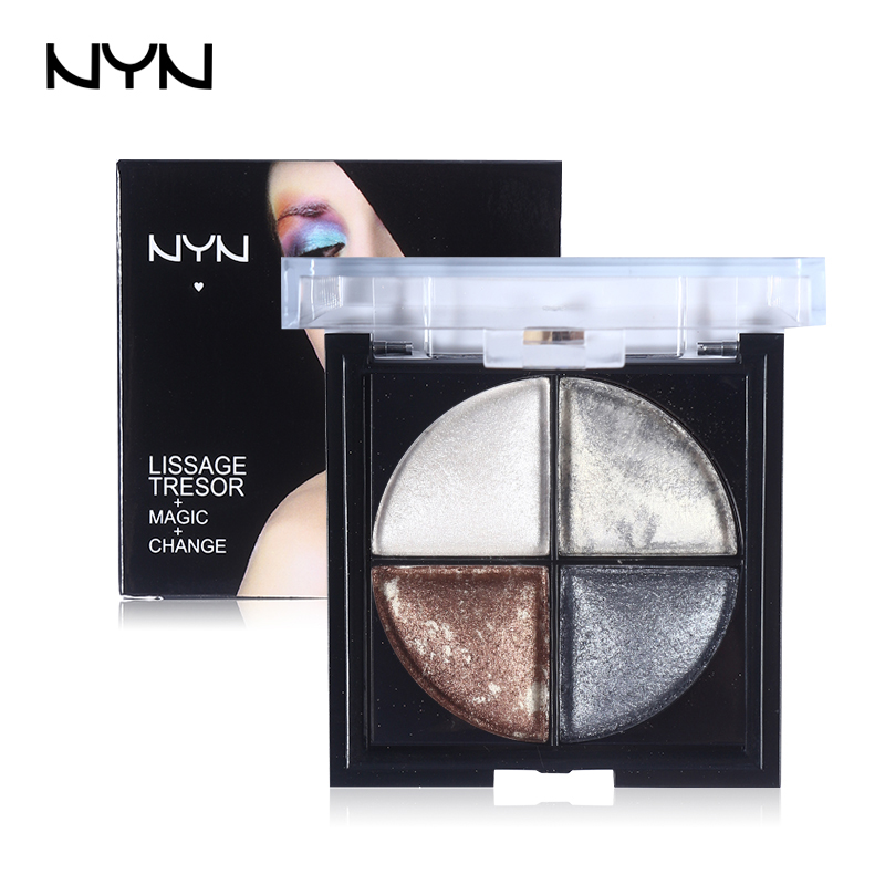 NYN 4 Colors Nude Eyeshadow Palette Naked Palette Glitter 3D Smoky Makeup Sombras Eye Shadow Waterproof Gold Brown Earth Color(China (Mainland))