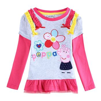 children clothing t-shirts for girls nova kids girls clothes embroidery flowers Chinese style long sleeve girls t shirt F4192