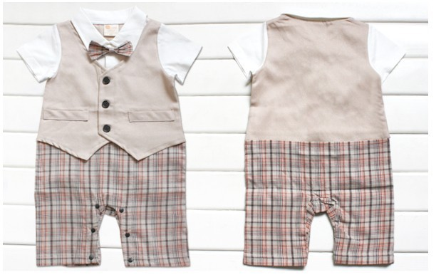 Kid Clothing Suit One Piece Short Sleeve Boy s Romper Gentleman Tie Vest font b Plaid