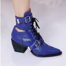 2018 hakiki Deri yarım çizmeler kadınlar için strappy cut out Toka Sapanlar yüksek Topuklu yılan derisi Motosiklet martin Çizmeler ayakkabı(China)