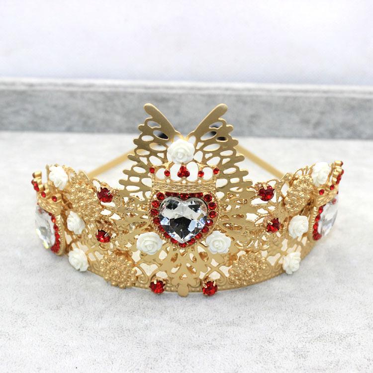 High quality Fashion Custom Europe exaggerated baroque crown jewel flower headband bride hair accessories(China (Mainland))