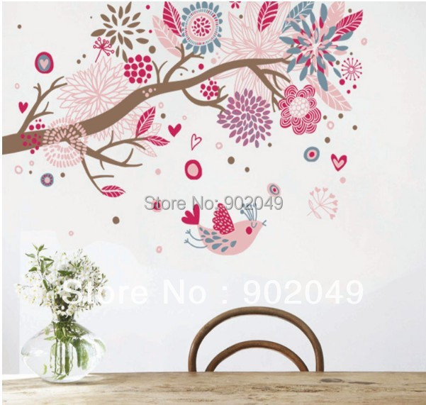 60x90cm Bohemia dream of the sea Flower tree removable wall stickers removable wall decals stickers KW-AY909