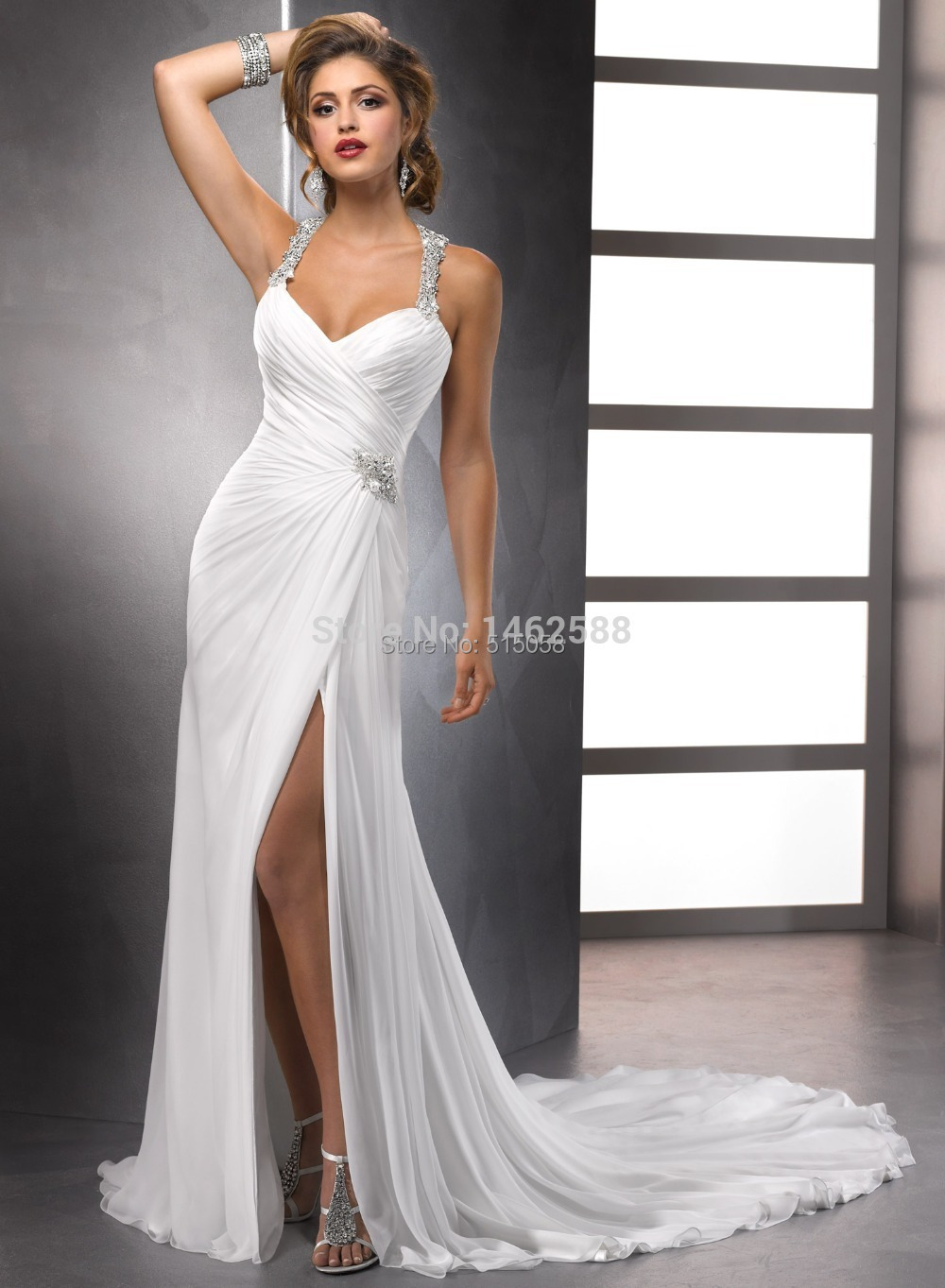 Crystal beaded straps white chiffon open back trumpet for Crystal design wedding dresses price