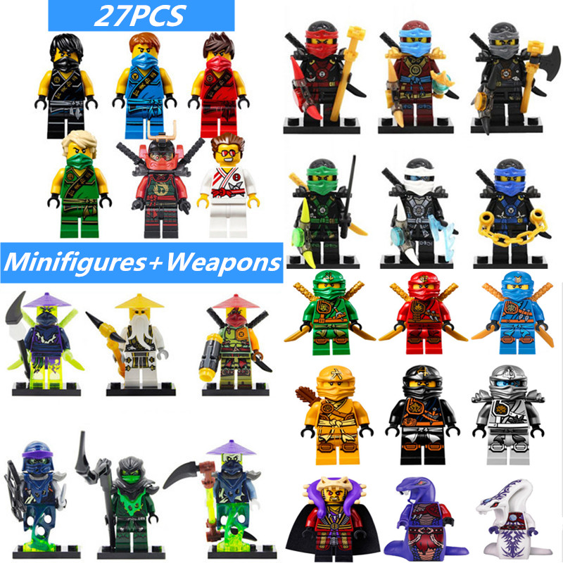 2016 HOT Legoed Ninjagoes Minifigures Set Ninja Weapon Kai Cole Jay Zane Lloyd Nya Building Blocks Kids Toys Friends Gifts - COASTLINE TOY store