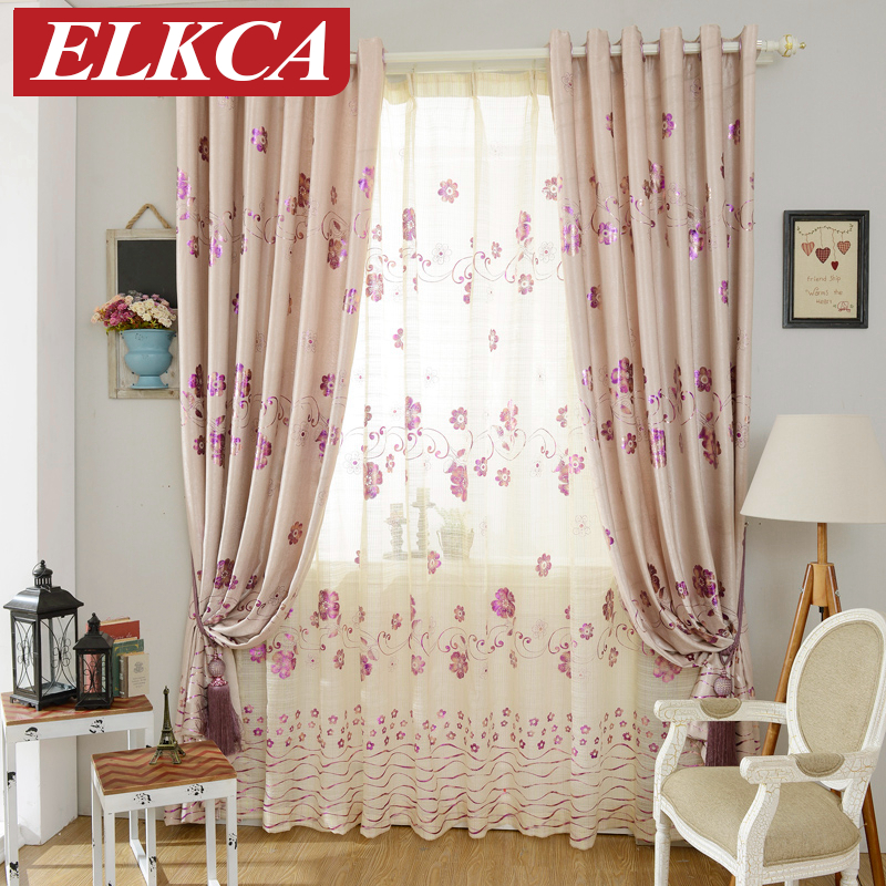 hot sale luxury floral purple gilding curtains for living room bedroom