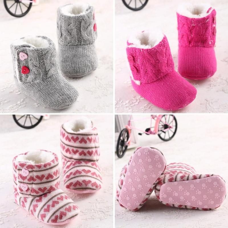 Amazing Infant Baby Girls Winter Snow Knitted Warm Shoes Boots Warm Prewalker First Walkers baby fashion warm Boots 5(China (Mainland))