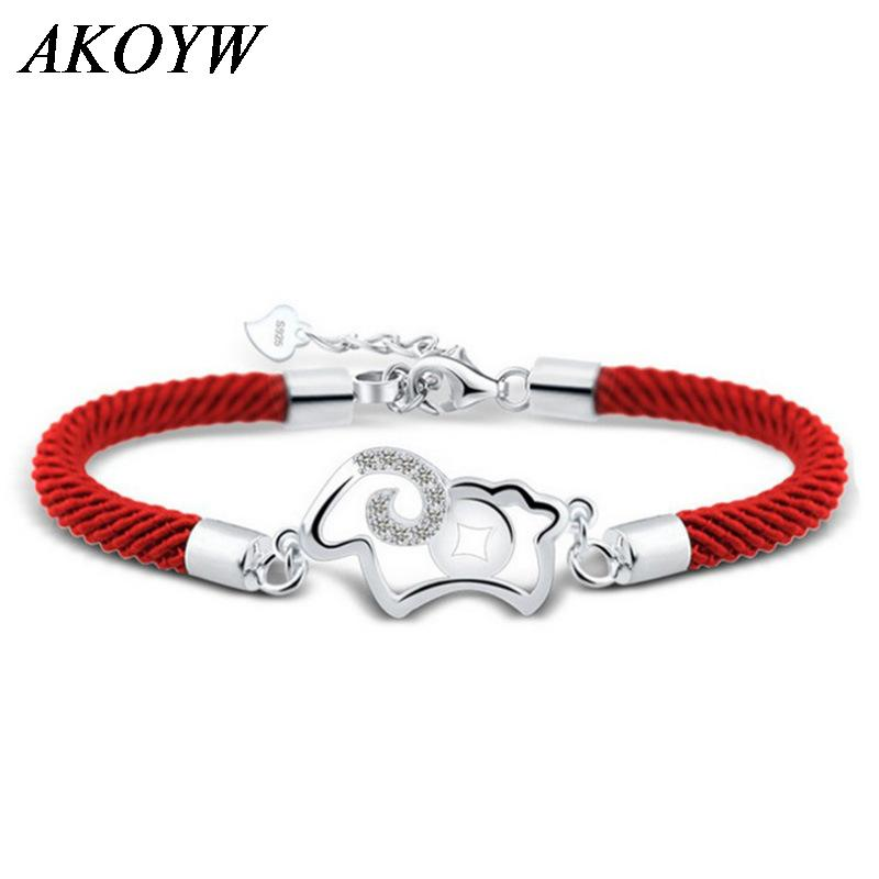 925 sterling silver bracelet hollow female models sheep Money 2015 Goat animal year red string bracelet(China (Mainland))