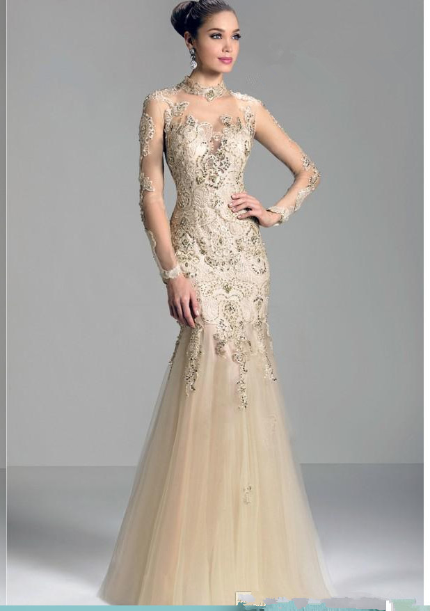 Champagne 2015long sleeves bridal gown mother absolute for Champagne colored wedding dresses with sleeves