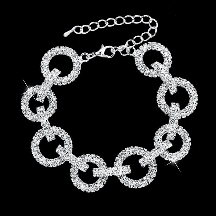 Wedding Bracelets & Bangles Silver Plated Round Chain Luxury Austrian Crystal Bracelet Women Classic Jewelry CEB008 - Mei Te store