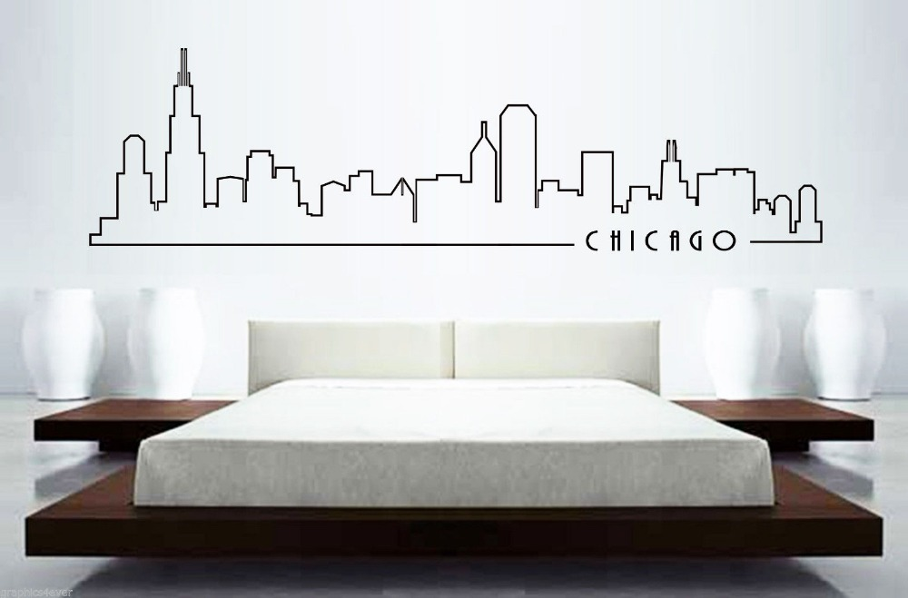 Chicago skyline mural wall sticker home decor skyline for Chicago mural group