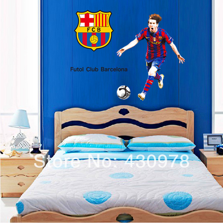 QZ1292 Free Shipping 1 Pcs Football World Cup Football Club Spanish Liga Barcelona Messi Removable Wall Stickers Decoration(China (Mainland))