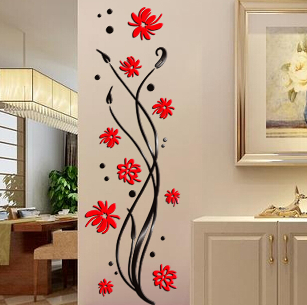 Buy 2015 Phalaenopsis 3d Crystal Acrylic Stickers Walkway Entrance Corridor